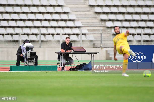 A screen is set up pitch side in case the refereeNeeds to ask for the video referee during the Playoff match between Paris Fc and Us Orleans at Stade...