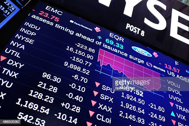 A screen is viewed on the floor of the New York Stock Exchange on September 4 2015 in New York City The Dow Jones industrial average finished the day...