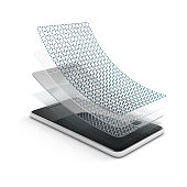 Anti-scratch glass or film on a smartphone. Multi layered, self-healing material for screen protection. 3d illustration isolated on a white background.