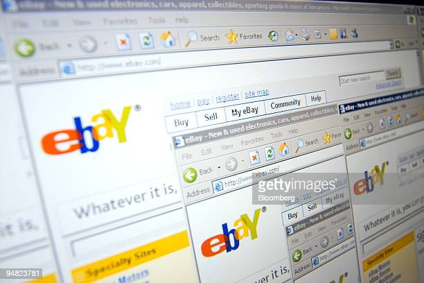 A screen shot of the EBay logo taken in London UK is repeated on several windows of its homepage Wednesday March 15 2006