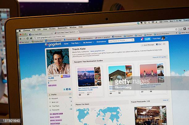 A screen shot of the Gogobot Inc website is displayed on a computer monitor during a Facebook Inc special event in San Francisco California US on...