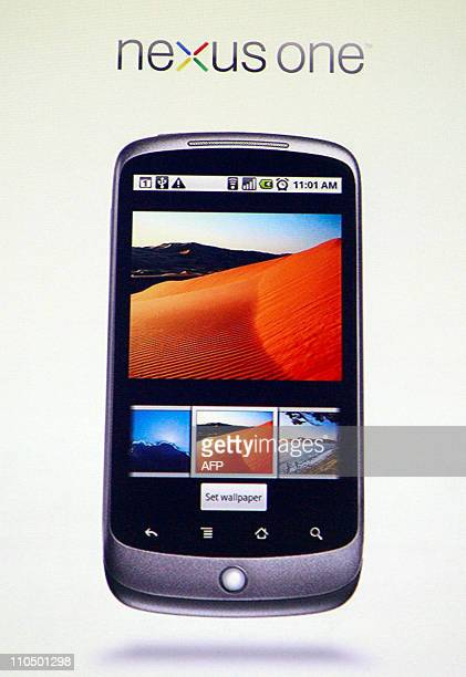 A screen shot of the Google Nexus One smartphone on the Android platform is shown during the unveiling of the first mobile phone the internet company...