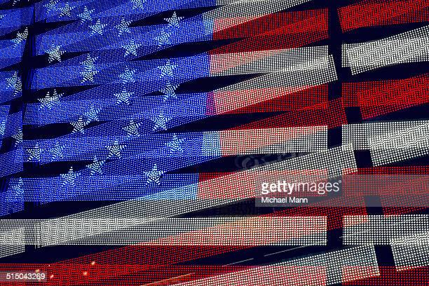 Screen showing American flag in double exposure