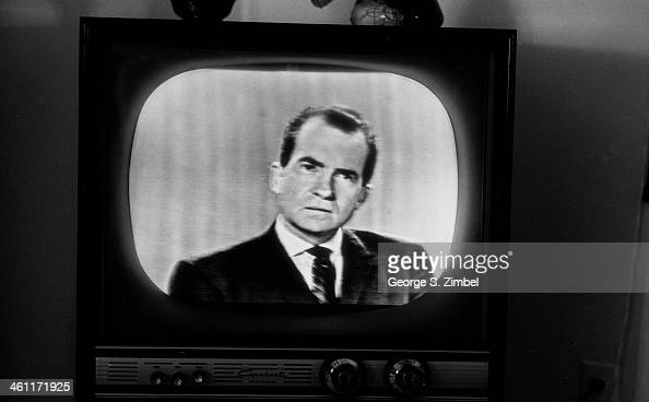 View of then US Vice President Richard Nixon on a television screen during his debate with Senator John F Kennedy during the 1960 presidential...