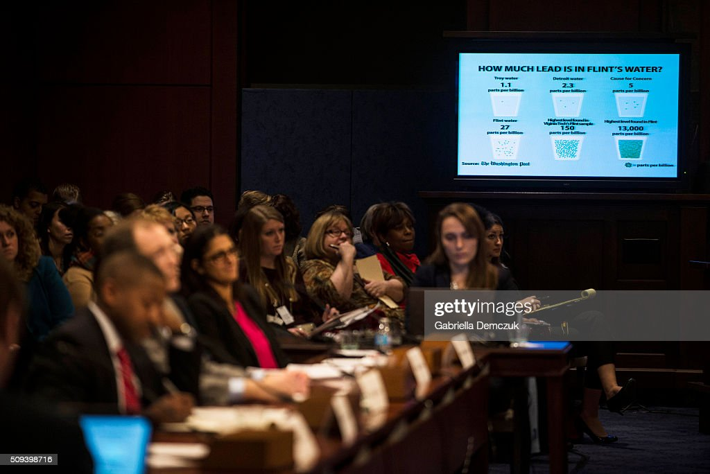 A screen showing the amount of lead in Flint's water is projected on a screen at the House Democratic Steering & Policy Committee hearing titled, 'The Flint Water Crisis: Lessons for Protecting America's Children' at the Capitol on February 10, 2016 in Washington, D.C. House Democrats hold a hearing on the toxic lead water crisis in Flint, MI.
