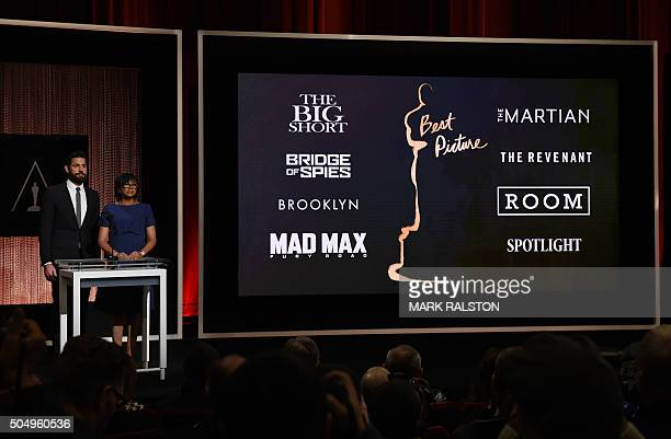 A screen showing the Oscar nominees for Best Picture as announced by actor John Krasinski and Academy President Cheryl Boone Isaacs during the...