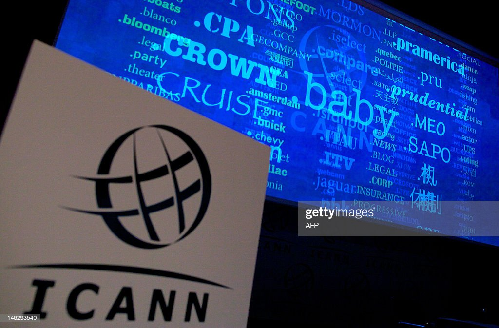 A screen shows a rolling feed of new 'Generic Top-Level Domain Names (gTLDs) which have been applied for during a press conference hosted by ICANN in central London, on June 13, 2012. The US-based Internet Corporation for Assigned Names and Numbers (ICANN) was to reveal details of 1,930 requests for new web address endings at a press conference in London. The California-based body says the huge expansion of the Internet, with two billion users around the world, half of them in Asia, means the new names are essential.