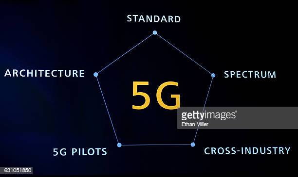 A screen shows information on 5G during a keynote address by CEO of Huawei Consumer Business Group Richard Yu at CES 2017 at The Venetian Las Vegas...