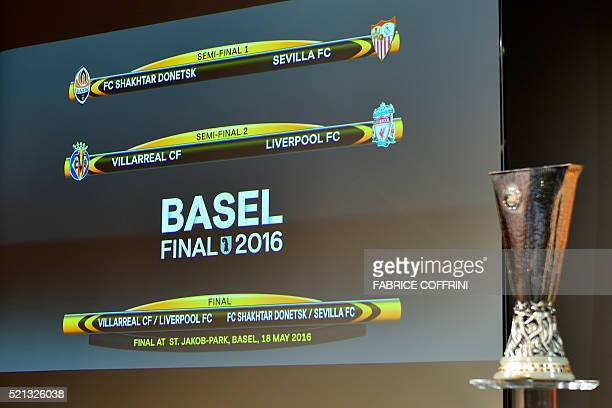 A screen shows the clubs that will be facing each other during the semifinal draw for the UEFA Europa League at the UEFA headquarters in Nyon on...