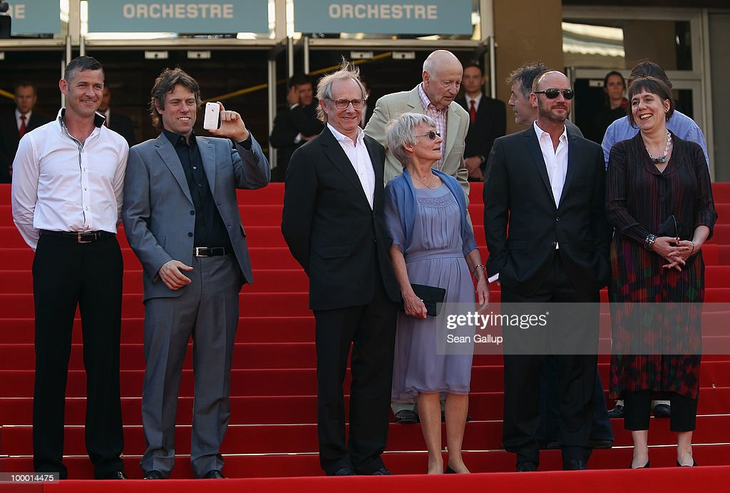 Screen writer Paul Laverty, John Bishop, director Ken Loach and wife Lesley Ashton, Mark Womack, Producer Rebecca O'Brien attend the 'Route Irish' Premiere at the Palais des Festivals during the 63rd Annual Cannes Film Festival on May 20, 2010 in Cannes, France.