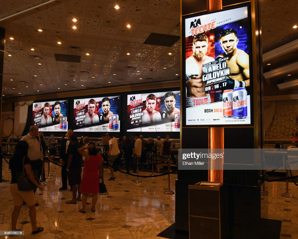 Screens in the MGM Grand Hotel & Casino lobby advertise the fight between WBC, WBA and IBF middleweight champion Gennady Golovkin and Canelo Alvarez on September 12, 2017 in Las Vegas, Nevada. Golovkin will defend his titles against Alvarez at T-Mobile Arena on September 16 in Las Vegas.