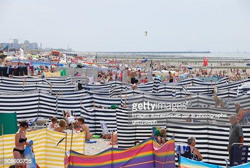 Screens on the beach : Foto de stock