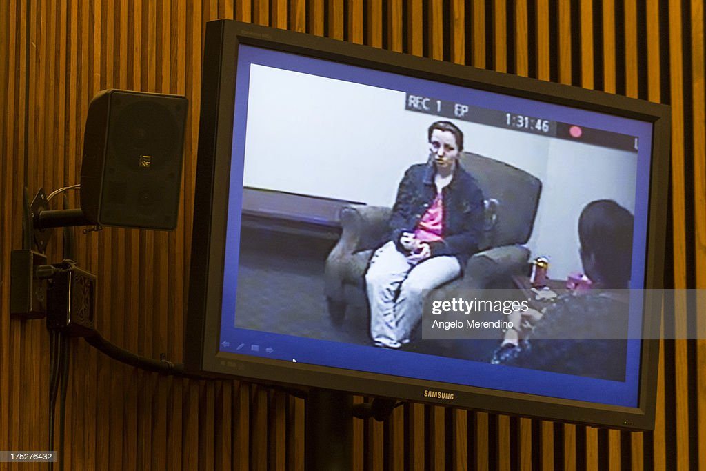 A screenshot of Amanda Berry made the day after her escape from the home of Ariel Castro is displayed during Castro's sentencing at the Cleveland Municipal Courthouse on August 1, 2013 in Cleveland, Ohio. Castro was sentenced to life without parole plus one thousand years for abducting three women between 2002 and 2004 when they were between 14 and 21 years old.