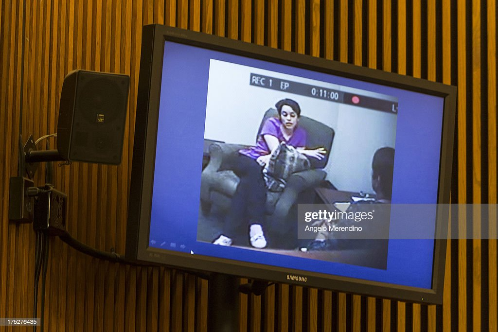 A screenshot of Gina DeJesus made the day after her escape from the home of Ariel Castro is displayed during Castro's sentencing at the Cleveland Municipal Courthouse on August 1, 2013 in Cleveland, Ohio. Castro was sentenced to life without parole plus one thousand years for abducting three women between 2002 and 2004 when they were between 14 and 21 years old.