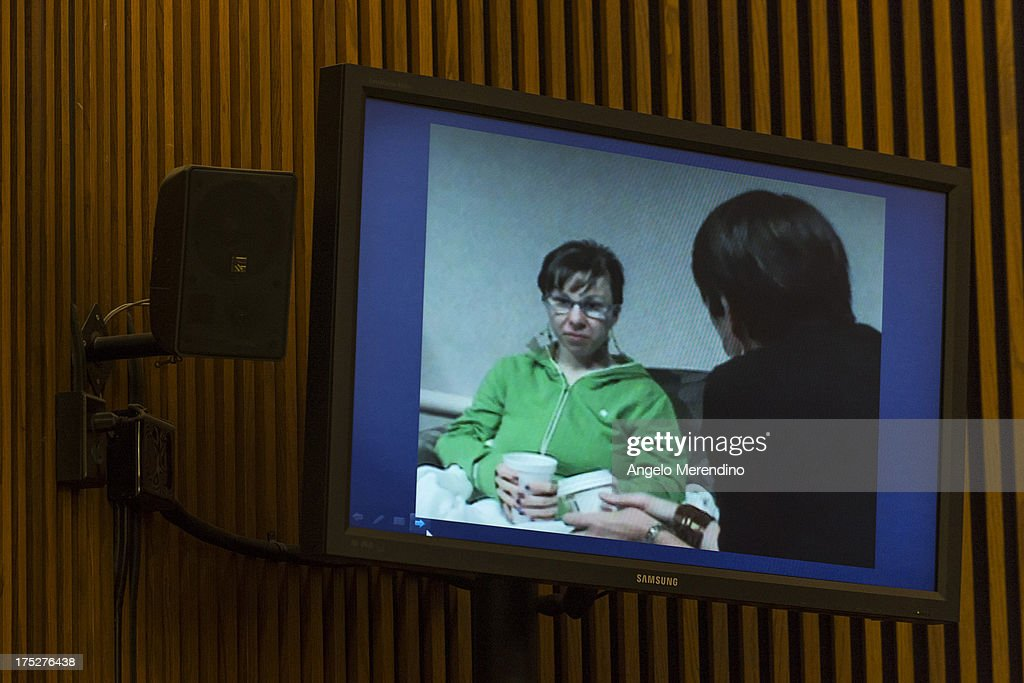 A screenshot of Michelle Knight made the day after her escape from the home of Ariel Castro is displayed during Castro's sentencing at the Cleveland Municipal Courthouse on August 1, 2013 in Cleveland, Ohio. Castro was sentenced to life without parole plus one thousand years for abducting three women between 2002 and 2004 when they were between 14 and 21 years old.