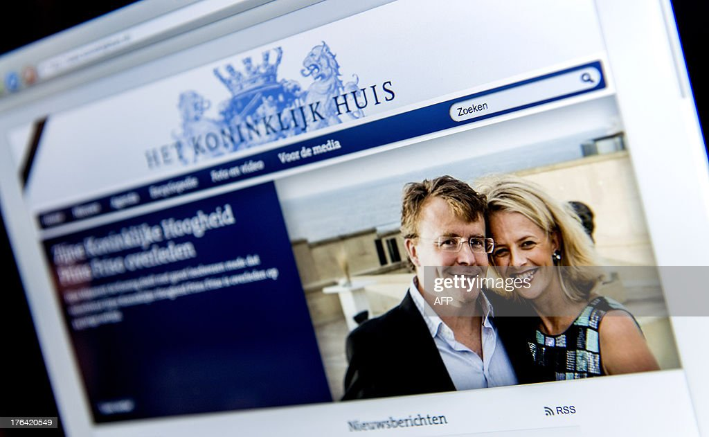 A screenshot taken on August 12, 2013 shows a picture of late Dutch Prince Johan Friso (L) and Princess Mabelt displayed on Dutch website koninklijkhuis.nl, which serves as a condolence page for Prince Friso. Dutch prince Johan Friso, who died on August 12, 2013, 18 months after a skiing accident left him brain-damaged, was always regarded as an outsider who preferred to follow his own path rather than royal protocol. King Willem-Alexander's younger brother, Johan Friso was left in a state of 'minimal consciousness' after being buried by an avalanche while skiing near the posh Austrian resort town of Lech in February 2012. He died aged 44.