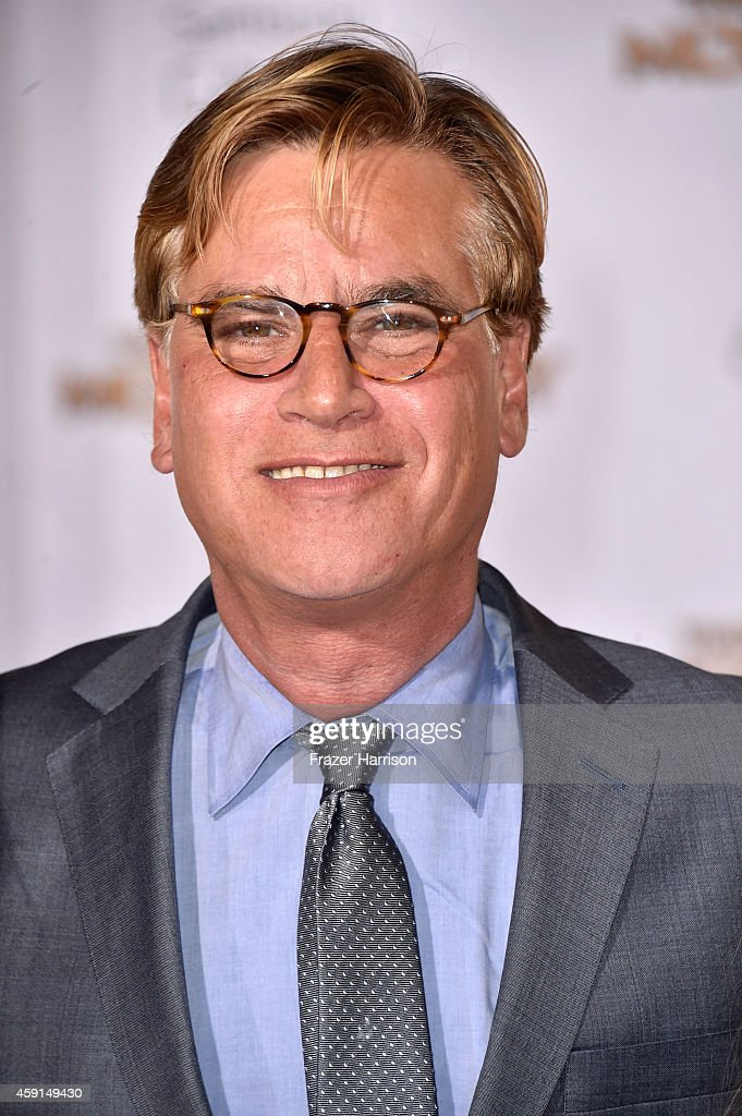 Screenwriter Aaron Sorkin attends the premiere of Lionsgate's 'The Hunger Games Mockingjay Part 1' at Nokia Theatre LA Live on November 17 2014 in...