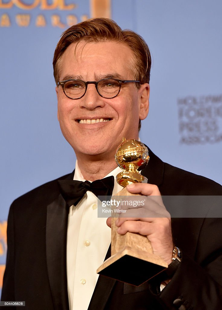 Screenwriter Aaron Sorkin winner of Best Screenplay for 'Steve Jobs' poses in the press room during the 73rd Annual Golden Globe Awards held at the...