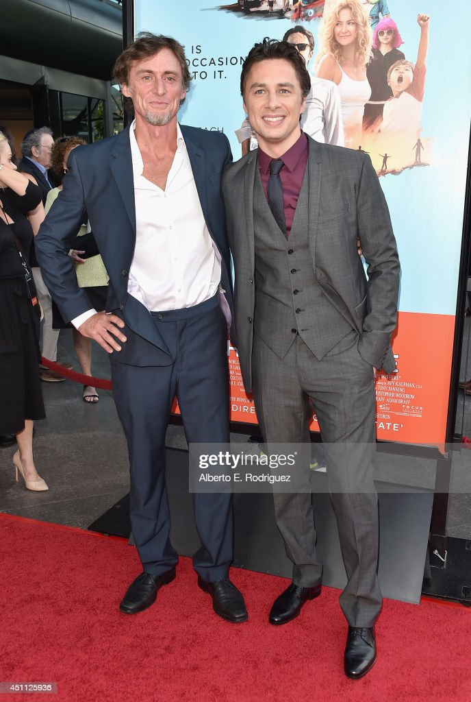 Screenwriter Adam Braff and filmmaker/actor <a gi-track='captionPersonalityLinkClicked' href=/galleries/search?phrase=Zach+Braff&family=editorial&specificpeople=203253 ng-click='$event.stopPropagation()'>Zach Braff</a> attend the premiere of Focus Features' 'Wish I Was Here' at DGA Theater on June 23, 2014 in Los Angeles, California.