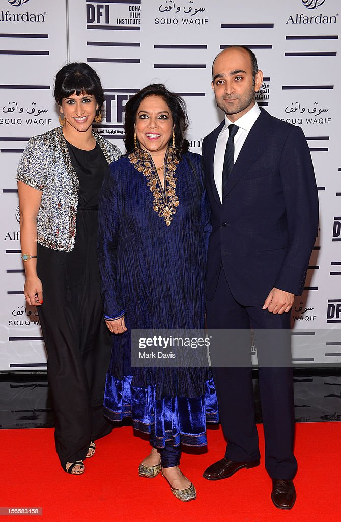 Screenwriter Ami Boghani, director <a gi-track='captionPersonalityLinkClicked' href=/galleries/search?phrase=Mira+Nair&family=editorial&specificpeople=214181 ng-click='$event.stopPropagation()'>Mira Nair</a> with novellist Mohsin Hamid attend the opening night ceremony and gala screening of 'The Reluctant Fundamentalist' during the 2012 Doha Tribeca Film Festival at Al Mirqab Hotel on November 17, 2012 in Doha, Qatar.