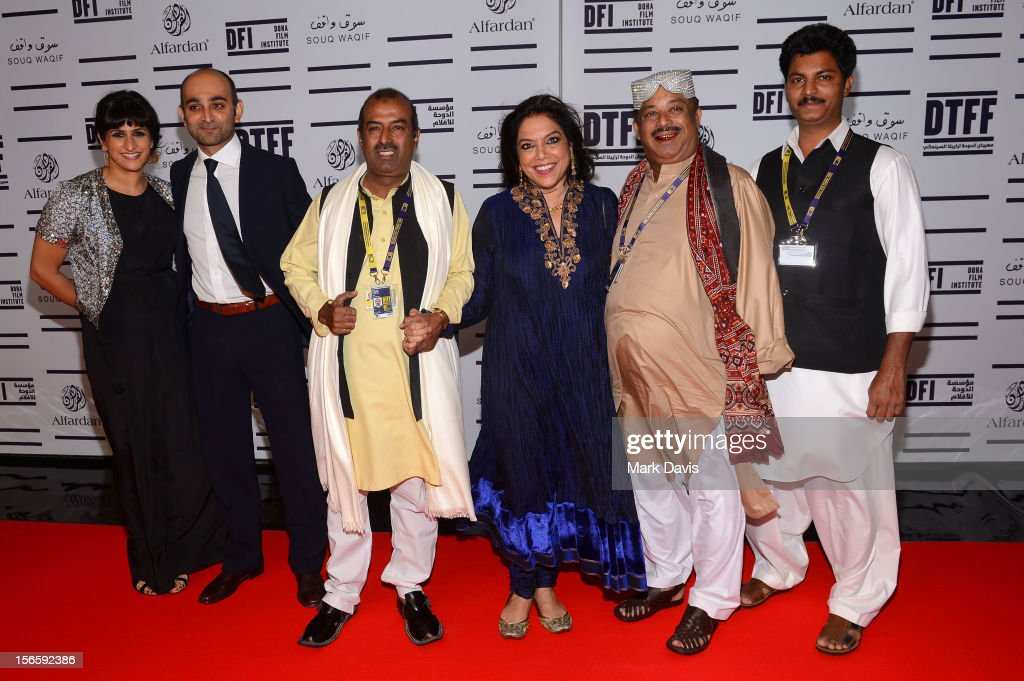 Screenwriter Ami Boghani, novellist Mohsin Hamid, Abu Muhammad, director <a gi-track='captionPersonalityLinkClicked' href=/galleries/search?phrase=Mira+Nair&family=editorial&specificpeople=214181 ng-click='$event.stopPropagation()'>Mira Nair</a>, Fariduddin Ayaz and guest attend the opening night ceremony and gala screening of 'The Reluctant Fundamentalist' during the 2012 Doha Tribeca Film Festival at Al Mirqab Hotel on November 17, 2012 in Doha, Qatar.