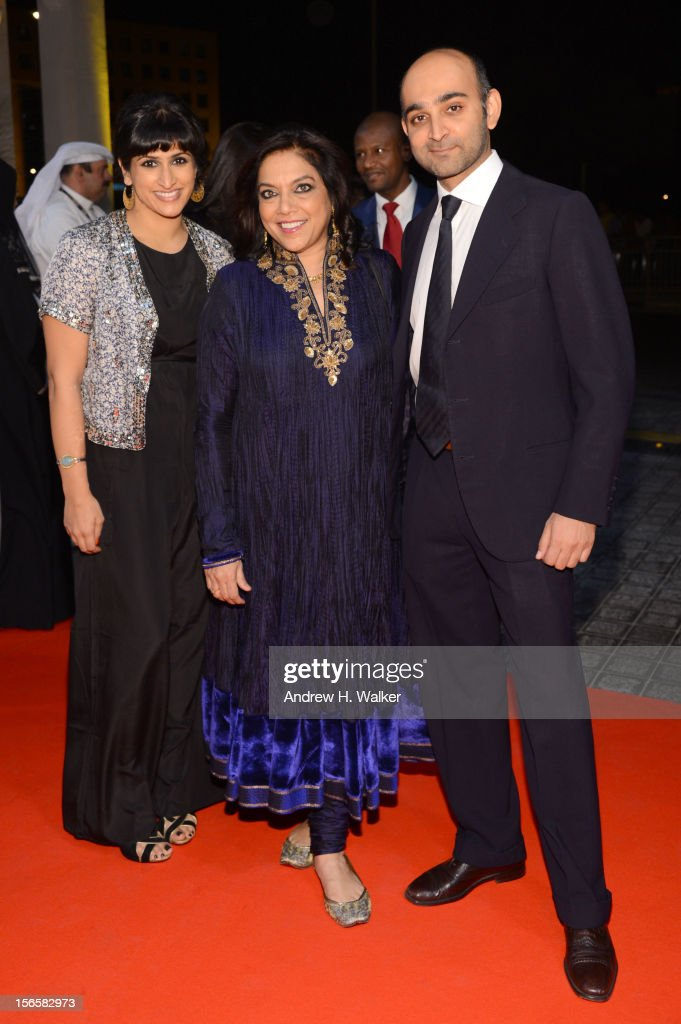 Screenwriter Ami Boghani with director Mira Nair with novellist Mohsin Hamid attend the opening night ceremony and gala screening of 'The Reluctant...