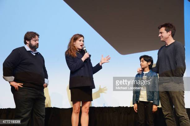Screenwriter Andrew Dodge actress Kathryn Hahn actor Rohan Chand and actor/director Jason Bateman take part in a QA following the 'Bad Words'...