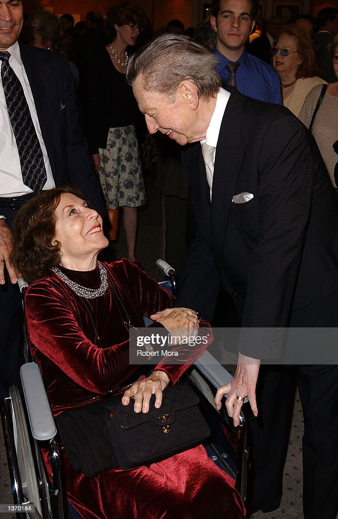 Screenwriter Bette Comden, left, and actor Donald O'Connor attends the 50th Anniversary screening of 'Singin' in the Rain' at the Academy of Motion Picture Arts and Sciences on September 5, 2002 in Beverly Hills, California.