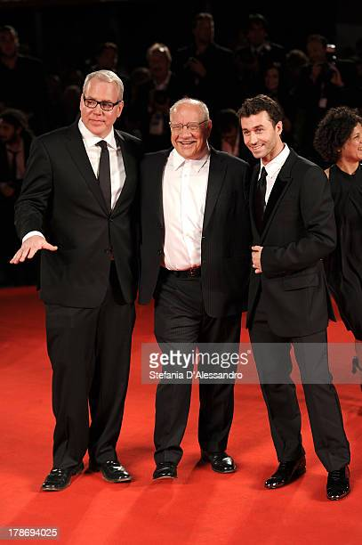 Screenwriter Bret Easton Ellis director Paul Schrader and actor James Deen attend 'The Canyons' Premiere during The 70th Venice International Film...