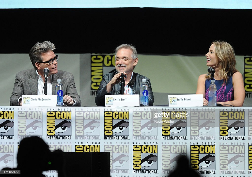 Screenwriter Christopher McQaurrie, producer Erwin Stoff and actress Emily Blunt speak onstage at the Warner Bros. and Legendary Pictures preview of 'Edge of Tomorrow' during Comic-Con International 2013 at San Diego Convention Center on July 20, 2013 in San Diego, California.