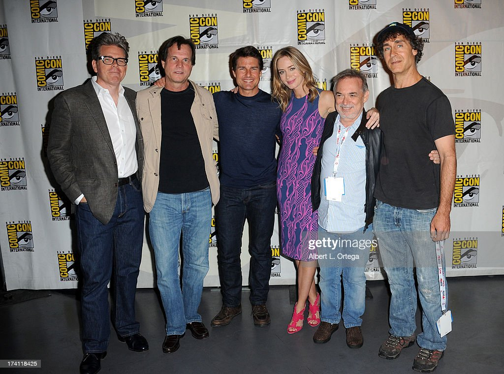 Screenwriter Christopher McQuarrie, actor Bill Paxton, actor Tom Cruise, actress Emily Blunt, producer Erwin Stoff and director Doug Liman appear at the Warner Bros. and Legendary Pictures preview of 'Edge of Tomorrow' during Comic-Con International 2013 at San Diego Convention Center on July 20, 2013 in San Diego, California.
