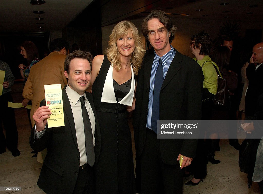 Screenwriter Danny Strong, actress <a gi-track='captionPersonalityLinkClicked' href=/galleries/search?phrase=Laura+Dern&family=editorial&specificpeople=204203 ng-click='$event.stopPropagation()'>Laura Dern</a> and director executive producer <a gi-track='captionPersonalityLinkClicked' href=/galleries/search?phrase=Jay+Roach&family=editorial&specificpeople=2576157 ng-click='$event.stopPropagation()'>Jay Roach</a> attend the after party for the New York premiere of HBO Films' 'Recount', at The Four Seasons Restaurant in New York City on May 13, 2008.