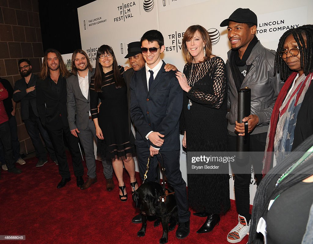 Screenwriter Davis Coombe, cinematographer Adam Hart, director Alan Hicks, producer Paula DuPre' Pesmen, musicians <a gi-track='captionPersonalityLinkClicked' href=/galleries/search?phrase=Quincy+Jones&family=editorial&specificpeople=171797 ng-click='$event.stopPropagation()'>Quincy Jones</a> and Justin Kauflin, Tribeca Film Festival Co-founder <a gi-track='captionPersonalityLinkClicked' href=/galleries/search?phrase=Jane+Rosenthal&family=editorial&specificpeople=202835 ng-click='$event.stopPropagation()'>Jane Rosenthal</a>, Jon Batiste and actress <a gi-track='captionPersonalityLinkClicked' href=/galleries/search?phrase=Whoopi+Goldberg&family=editorial&specificpeople=202463 ng-click='$event.stopPropagation()'>Whoopi Goldberg</a> at the 'Keep On Keepin' On' world premiere exclusively for American Express Card Members at BMCC Tribeca PAC on April 19, 2014 in New York City.