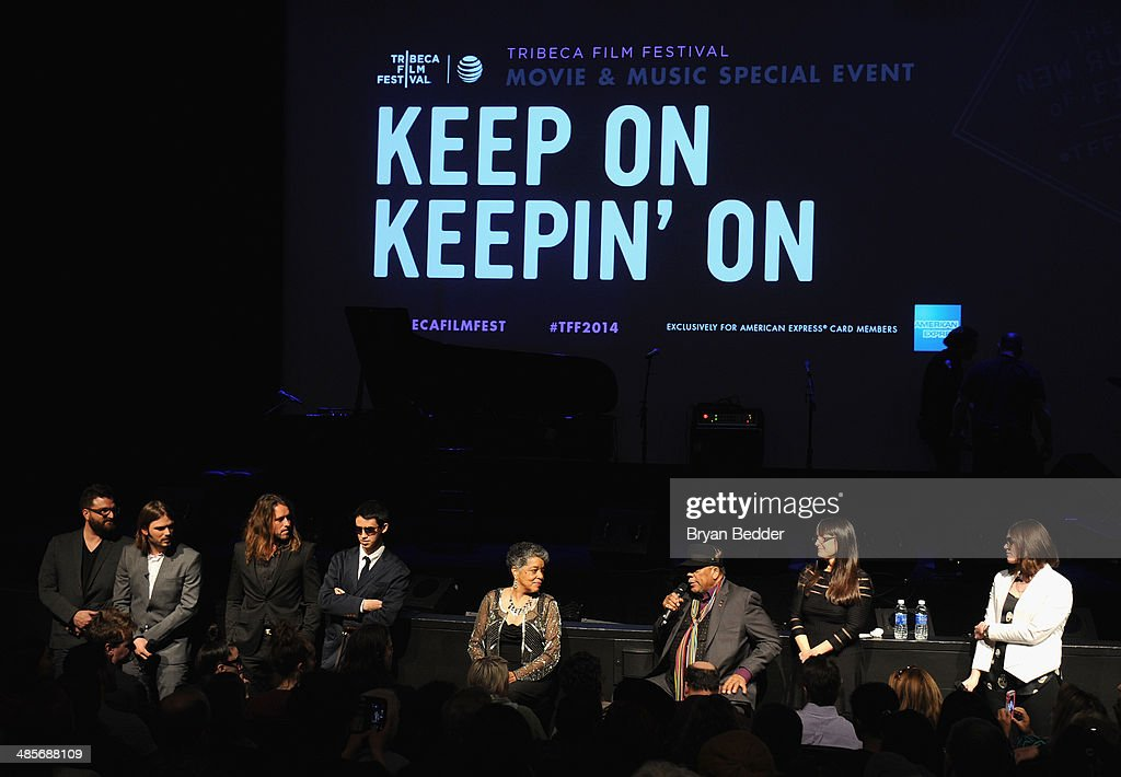 Screenwriter Davis Coombe, director Alan Hicks, cinematographer Adam Hart, pianist Justin Kauflin, Gwen Terry, <a gi-track='captionPersonalityLinkClicked' href=/galleries/search?phrase=Quincy+Jones&family=editorial&specificpeople=171797 ng-click='$event.stopPropagation()'>Quincy Jones</a> and producer Paula DuPre' Pesmen at the 'Keep On Keepin' On' world premiere exclusively for American Express Card Members at BMCC Tribeca PAC on April 19, 2014 in New York City.
