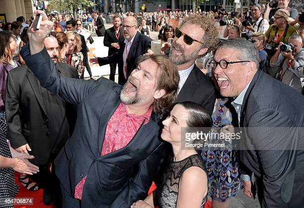 Screenwriter Eliot Laurence actor/producer Will Ferrell actress Linda Cardellini and director Adam McKay attend the 'Welcome To Me' premiere during...