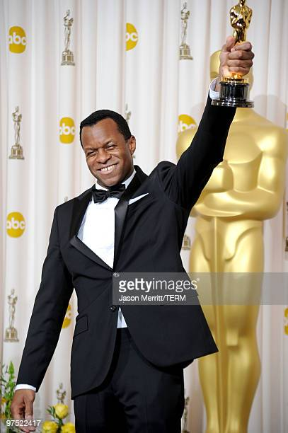 Screenwriter Geoffrey Fletcher winner Best Adapted Screenplay award for 'Precious Based on the Novel 'Push' by Sapphire' poses in the press room at...