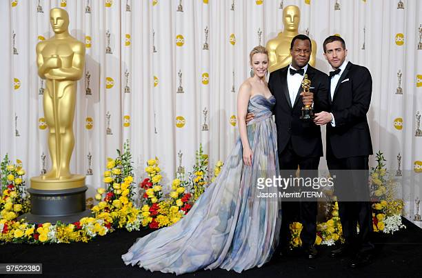 Screenwriter Geoffrey Fletcher winner of Best Adapted Screenplay award for 'Precious Based on the Novel 'Push' by Sapphire' poses with presenters...