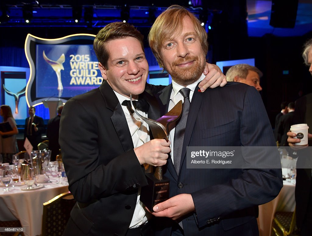 Screenwriter Graham Moore and director Morten Tyldum pose with the Best Adapted Screenplay award for 'Imitation Game' at the 2015 Writers Guild...