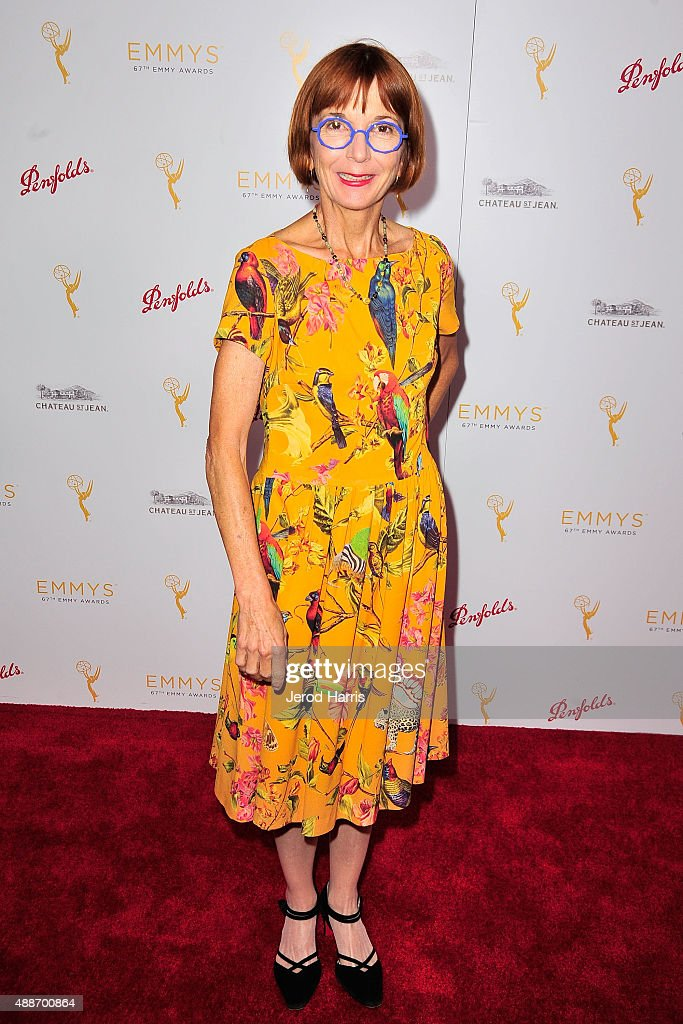 Screenwriter <a gi-track='captionPersonalityLinkClicked' href=/galleries/search?phrase=Jane+Anderson&family=editorial&specificpeople=2243577 ng-click='$event.stopPropagation()'>Jane Anderson</a> arrives at the Television Academy Celebrates the 67th Emmy Award Nominees for Outstanding Writing at Montage Beverly Hills on September 16, 2015 in Beverly Hills, California.