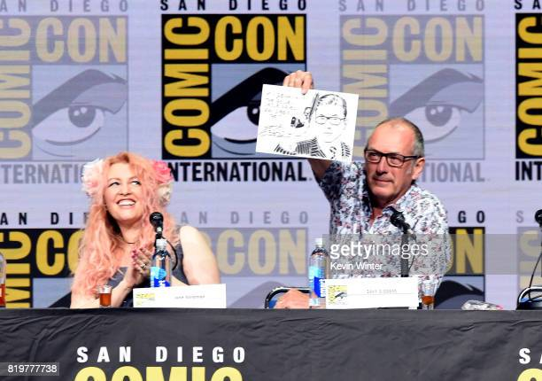 Screenwriter Jane Goldman and writer/executive producer Dave Gibbons speak onstage at the 20th Century FOX panel during ComicCon International 2017...