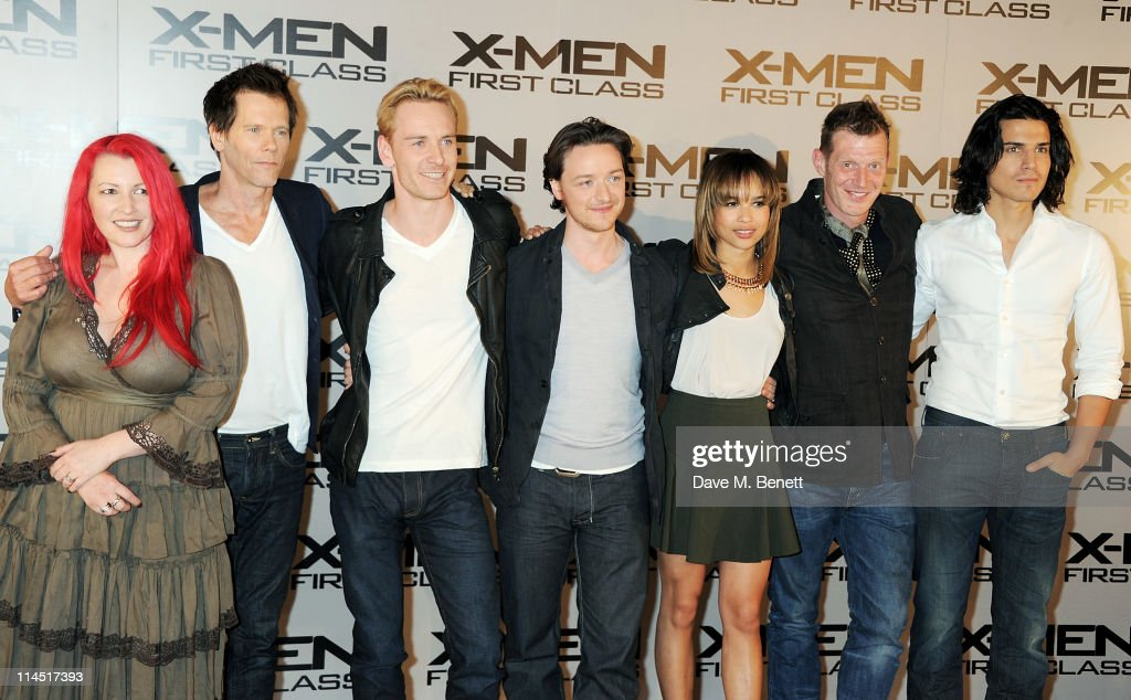 Screenwriter Jane Goldman Kevin Bacon Michael Fassbender James McAvoy Zoe Kravitz Jason Flemyng and Alex Gonzalez attend a photocall for XMen First...