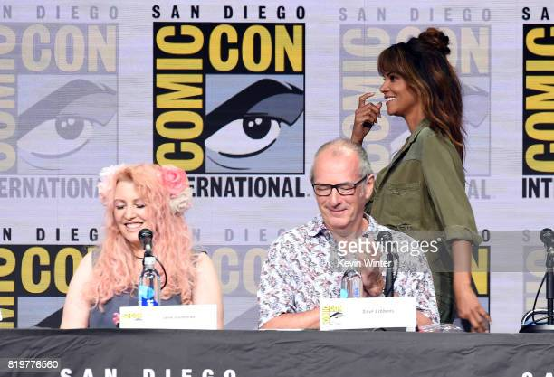Screenwriter Jane Goldman writer/executive producer Dave Gibbons and actor Halle Berry speak onstage at the 20th Century FOX panel during ComicCon...