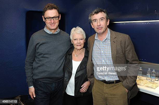 Screenwriter Jeff Pope actors Dame Judi Dench and Steve Coogan attend a private screening and QA of 'Philomena' at Odeon West End on December 13 2013...