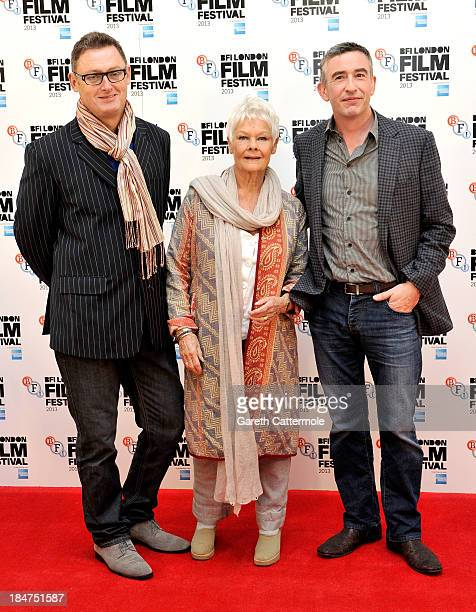 Screenwriter Jeff Pope and actors Dame Judi Dench and Steve Coogan attend the 'Philomena' photocall during the 57th BFI London Film Festival at...