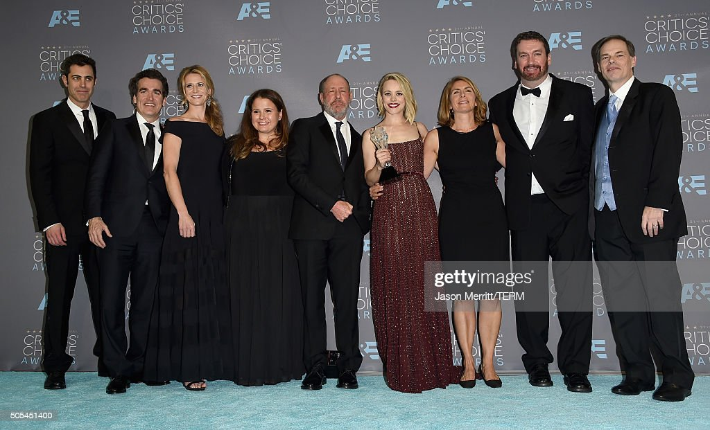 Screenwriter Josh Singer, actor Brian d'Arcy James, producers Blye Pagon Faust, Nicole Rocklin and Steve Golin, actress Rachel McAdams, journalist Sacha Pfeiffer, editor Tom McArdle and Executive Producer Tom Ortenberg, winners of Best Picture Award for 'Spotlight' pose in the press room during the 21st Annual Critics' Choice Awards at Barker Hangar on January 17, 2016 in Santa Monica, California.