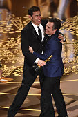 Screenwriter Josh Singer and actor Mark Ruffalo of Best Picture winner 'Spotlight' celebrate onstage during the 88th Annual Academy Awards at the...