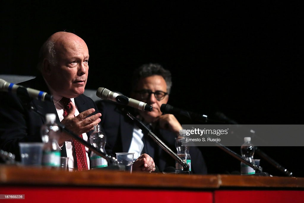 Screenwriter Julien Fellowes (L) speaks at the 'Romeo And Juliet' Press Conference during the 8th Rome Film Festival at the Auditorium Parco Della Musica on November 11, 2013 in Rome, Italy.