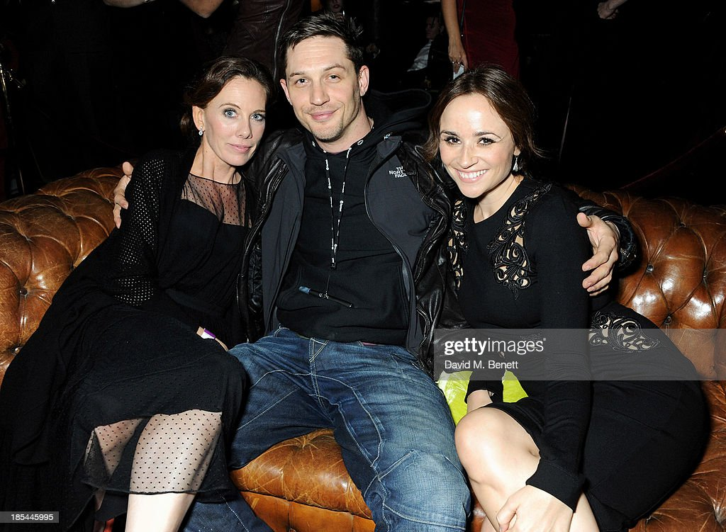 Screenwriter Kelly Marcel, <a gi-track='captionPersonalityLinkClicked' href=/galleries/search?phrase=Tom+Hardy+-+Actor&family=editorial&specificpeople=2209780 ng-click='$event.stopPropagation()'>Tom Hardy</a> and Emma Pierson attend an after party for the Closing Night Gala European Premiere of 'Saving Mr Banks' during the 57th BFI London Film Festival at The Old Billingsgate on October 20, 2013 in London, England.