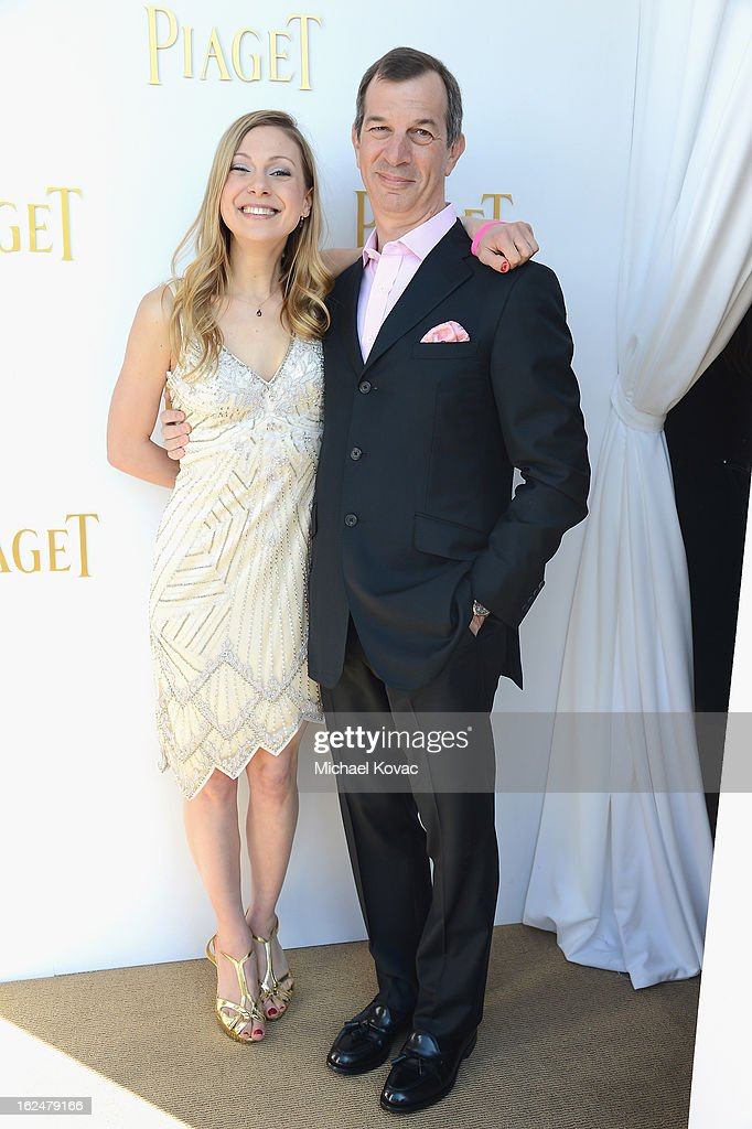Screenwriter Lucy Alibar and CEO of Piaget Philippe LeopoldMetzger pose in the Piaget Lounge during The 2013 Film Independent Spirit Awards on...