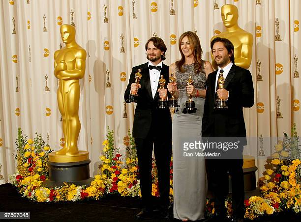 Screenwriter Mark Boal director Kathryn Bigelow and producer Greg Shapiro winners of the Best Picture Award for 'The Hurt Locker' pose in the press...